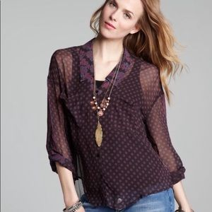 Free People Easy Rider Sheer Blouse Size Small